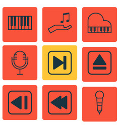 set of 9 multimedia icons includes note donate vector image vector image