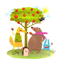 baby animals friends and apple tree vector image vector image