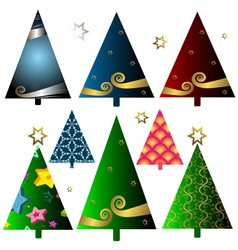 christmas decorative trees vector image vector image