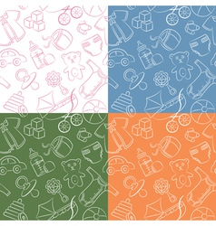 Four cute doodle baby seamless patterns vector image vector image