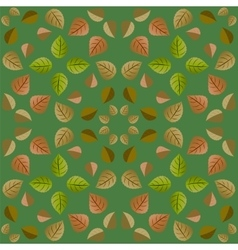 Geometric pattern with green and orange leaves vector image