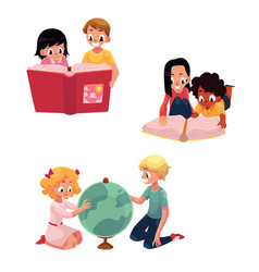 kids children reading studying learning vector image vector image