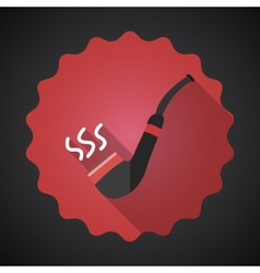 Smoking Pipe Tube Flat Icon with long shadow vector image
