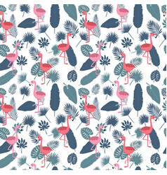 tropical seamless pattern with pink flamingos and vector image