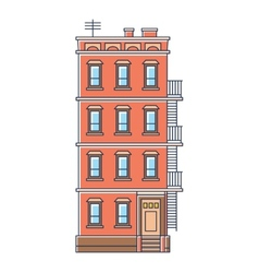 - new york united states red brick old building vector image vector image