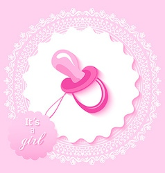 Baby shower girl invitation card design vector image