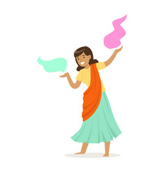 beautiful indian woman in a sari dancing national vector image
