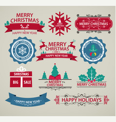 christmas decoration set of calligraphy vector image vector image