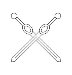 Cross rapiers thin line icon vector image