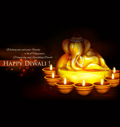Ganesha with diya on happy Diwali Holiday vector image