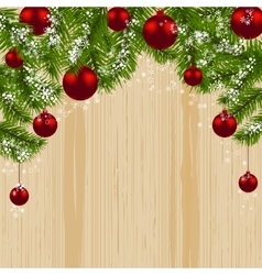 Green branch of fir with red balls and snowflakes vector