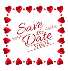Save the date card with heart frame vector image