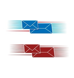Two snail mail icons with envelopes vector image