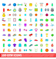 100 gym icons set cartoon style vector