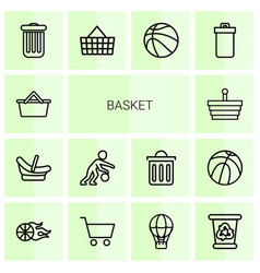 14 basket icons vector