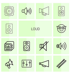 14 loud icons vector image