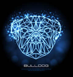 Abstract polygonal tirangle animal bulldog neon vector