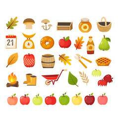 apple farm icons vector image