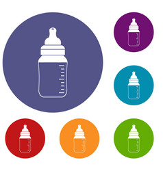Baby milk bottle icons set vector