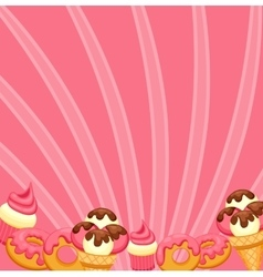 Background vanilla Ice Cream strawberry Cupcake vector image