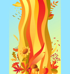 background with stylized autumn items vector image