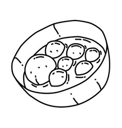 Bakso icon doodle hand drawn or outline icon style vector