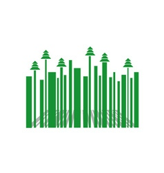 Barcode with Christmas trees vector image