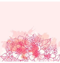 beautiful pink background with abstract flowers vector image