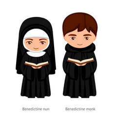 Benedictine monk and nun holding a bible in their vector