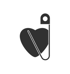 Black icon on white background heart with safety vector