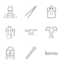 Blacksmith profession icon set outline style vector