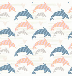 blue and pink cute kids dolphin silhouette wave vector image