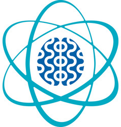 Brain academy concept education icon with atom vector
