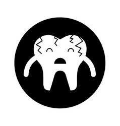 Broken tooth sad character icon vector