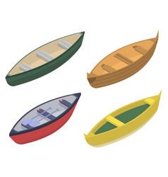 Canoeing icons set isometric style vector