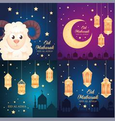 Cards eid al adha mubarak happy sacrifice feast vector