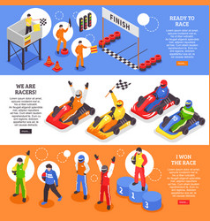 Cart racers horizontal banners vector