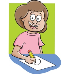 Cartoon Girl at Desk Drawing vector image