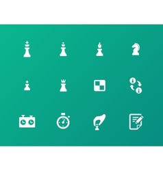 Chess strategy icons on green background vector