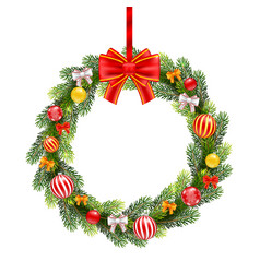 christmas wreath from fir branches vector image