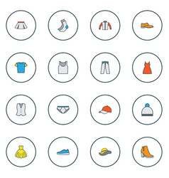 clothes icons colored line set with half-hose vector image