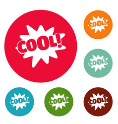 comic boom cool icons circle set vector image