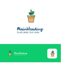 creative plant pot logo design flat color logo vector image