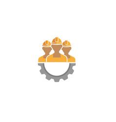 creative three people team gear logo design vector image