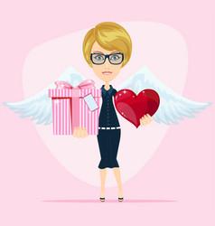 Cute angel birthday greeting card vector