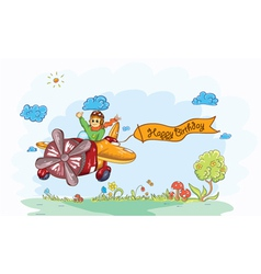 Cute kid flying with a plane vector image
