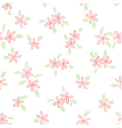 cute watercolor pink plumeria seamless pattern vector image