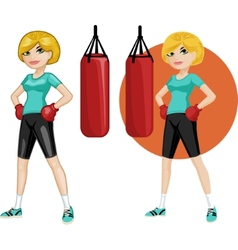 Cute young Caucasian woman boxer vector image