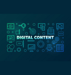 Digital content outline bright horizontal vector