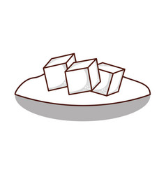 dish with sugar cubes vector image